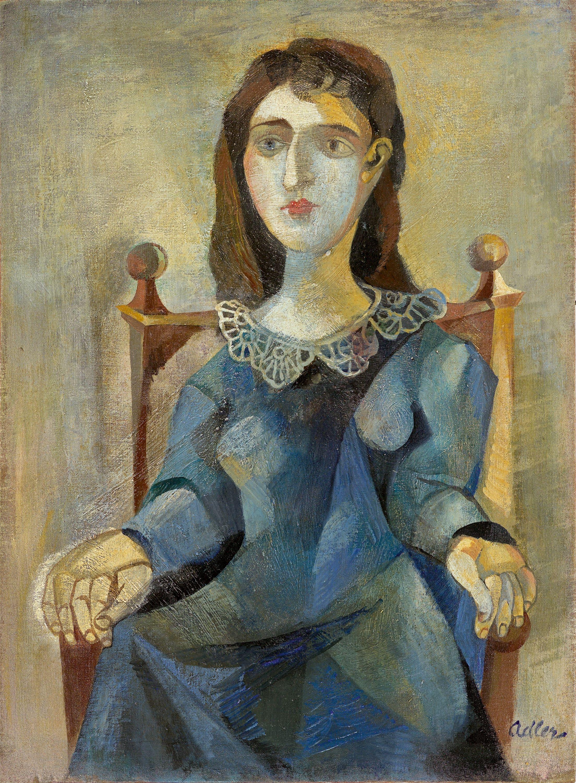 """Jankiel Adler (1895-1949) """"Siedząca w niebieskiej sukience"""", źródło: Grisebach"""