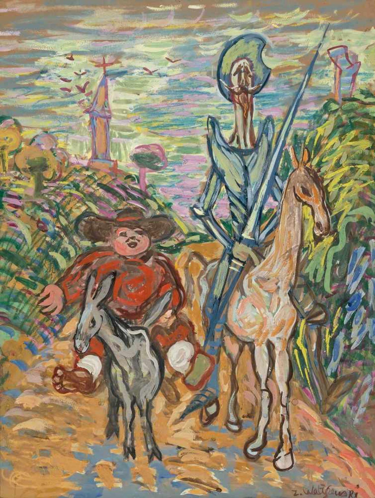 """Zygmunt Waliszewski (1897-1936) """"Don Kichot i Sancho Pansa"""", źródło: Schuler Auktionen"""