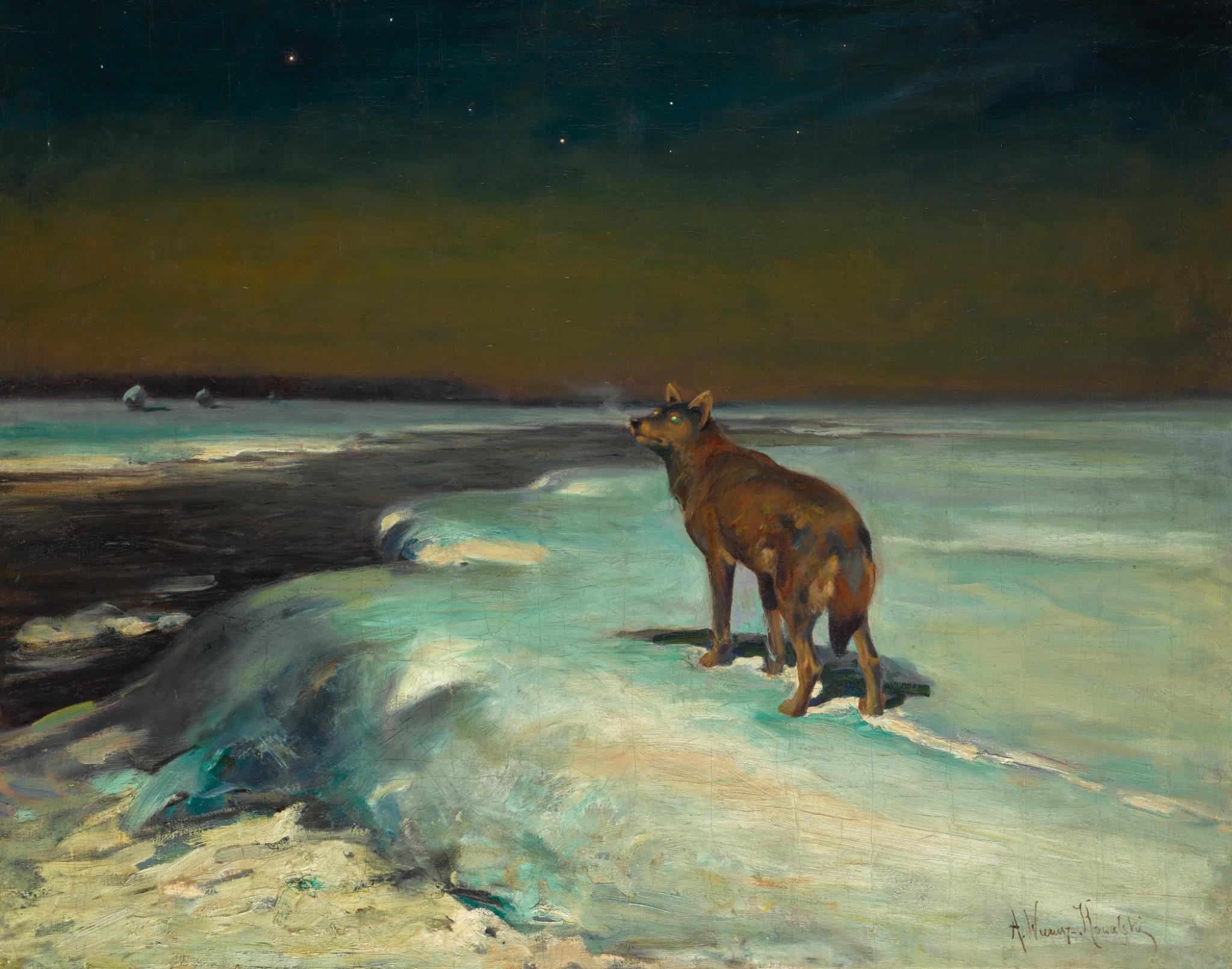 """Alfred Wierusz Kowalski (1849-1915) """"Samotny wilk"""", źródło: Sotheby's"""