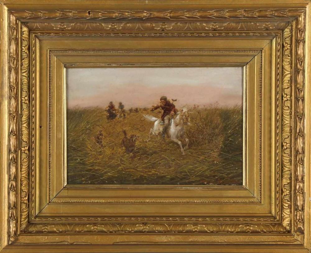 """Alfred Wierusz-Kowalski (1849-1915) """"Polowanie na wilki"""", źródło: DAWO Auktionen"""