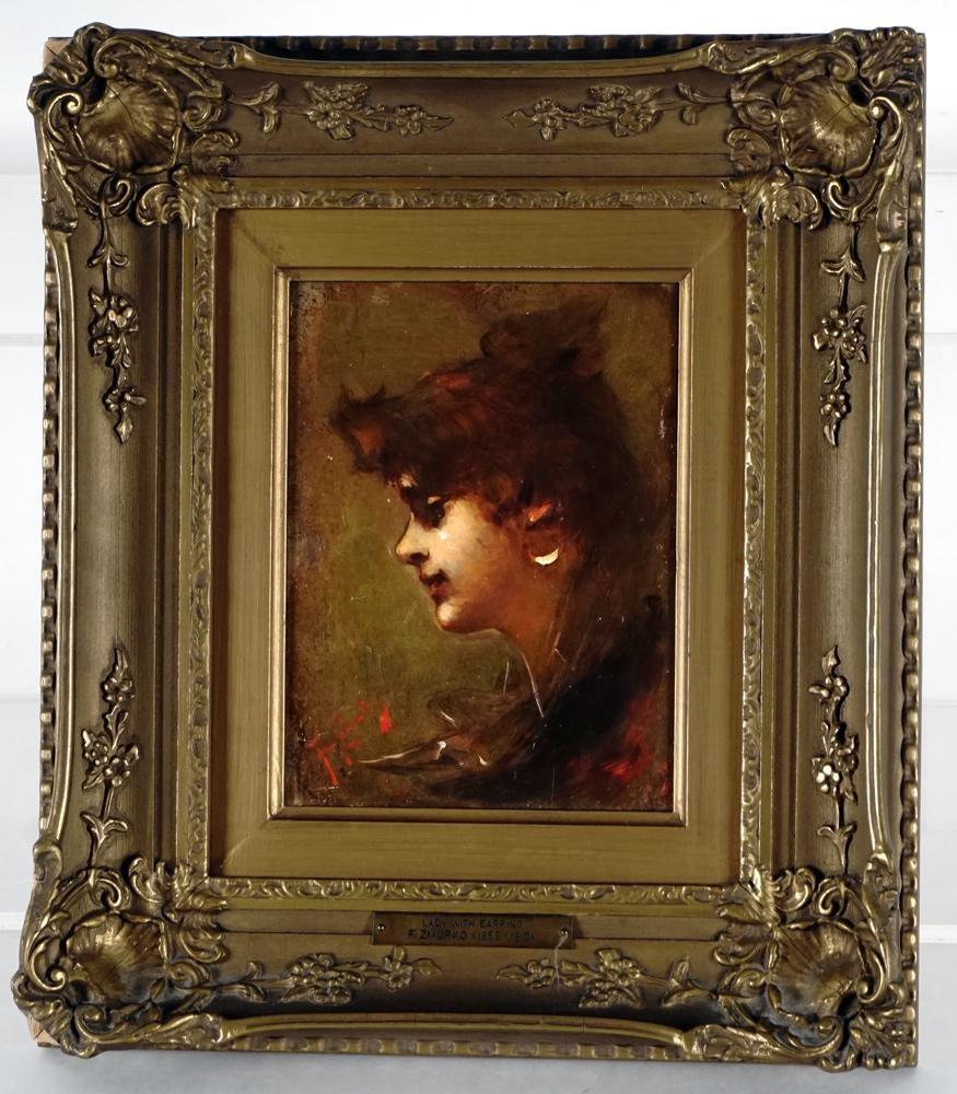 """Franciszek Żmurko (1859-1910) """"Dziewczyna z kolczykiem"""", źródło: IEGOR Auctions"""