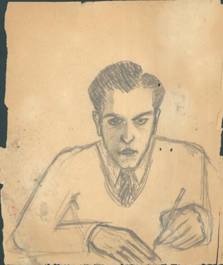 """Krzysztof Kamil Baczyński (1921-1944) """"Autoportret"""", źródło: Biblioteka Narodowa"""