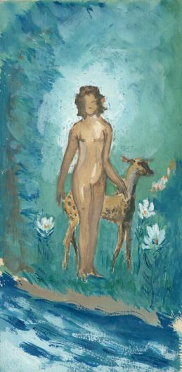 """Krzysztof Kamil Baczyński (1921-1944) """"Kobieta z łanią"""", źródło: Biblioteka Narodowa"""