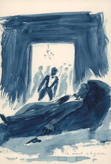 """Krzysztof Kamil Baczyński (1921-1944), rysunek niebieskim tuszem """"Le mort elegante"""", źródło: Biblioteka Narodowa"""