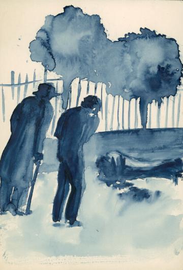 Krzysztof Kamil Baczyński (1921-1944), rysunek niebieskim tuszem, źródło: Biblioteka Narodowa
