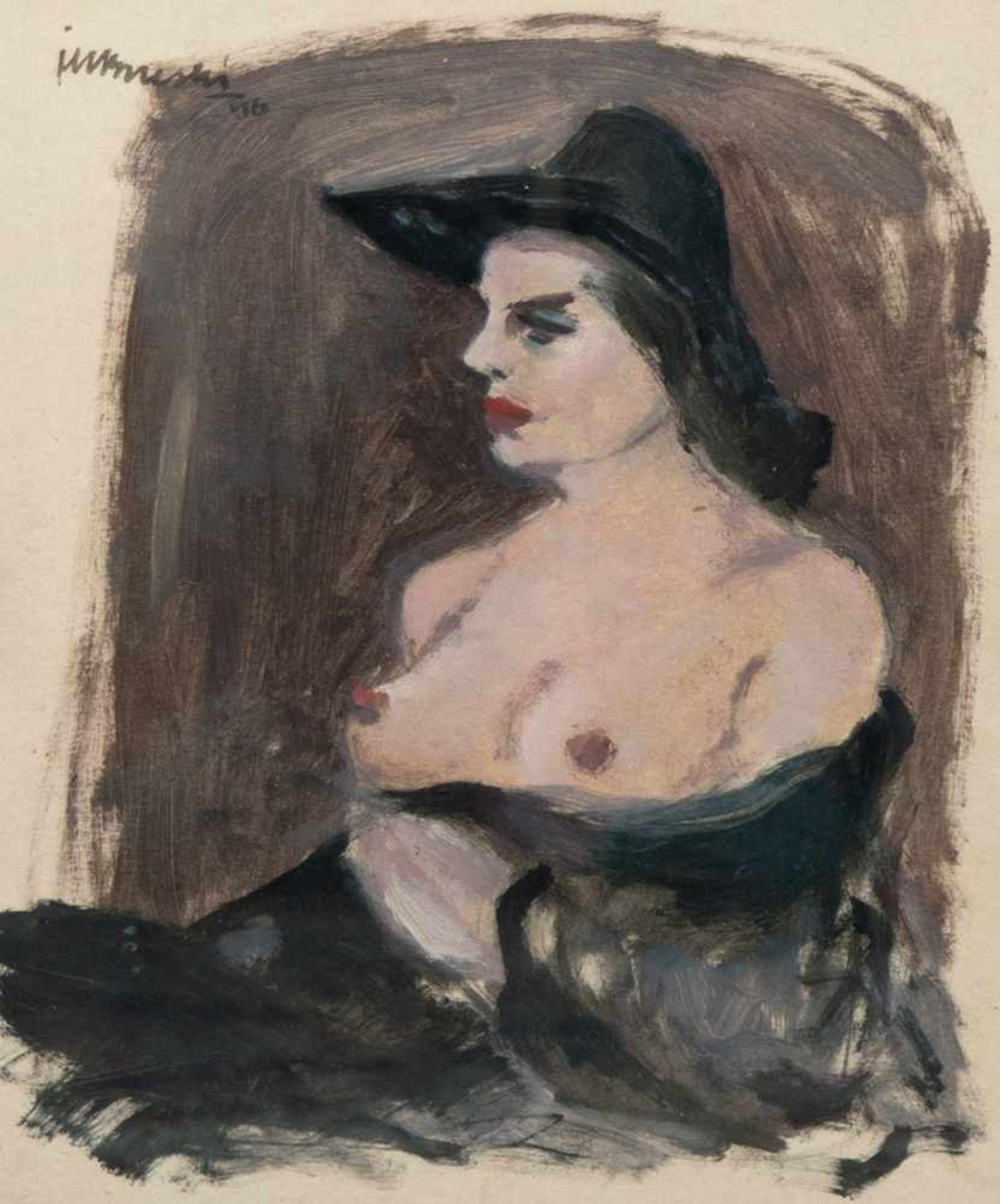 """Janusz Maria Brzeski (1907-1957) """"Półakt w kapeluszu"""", źródło: Auktionshaus Satow"""