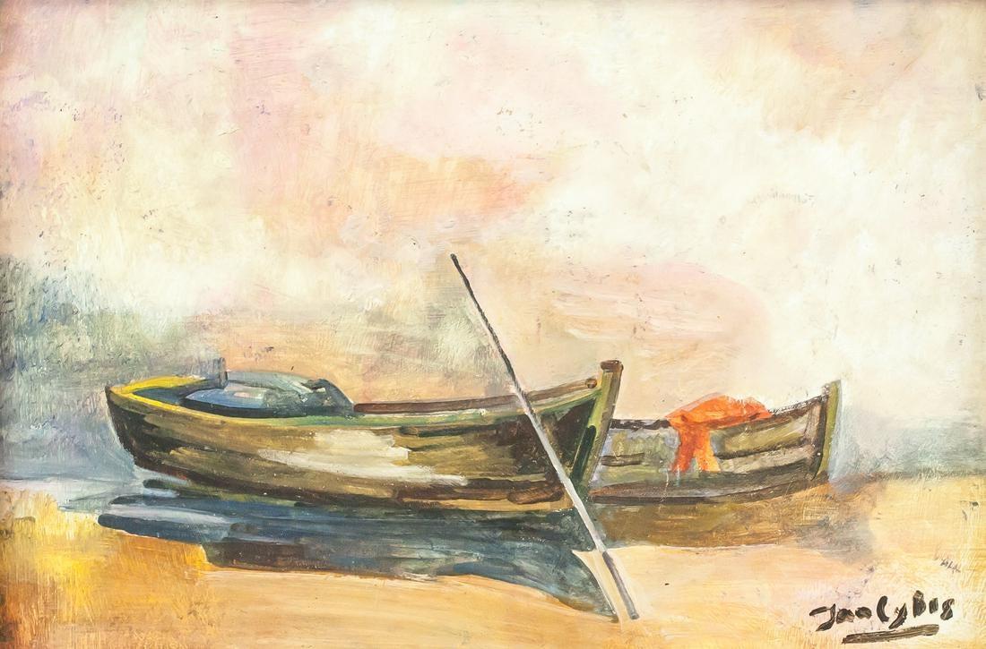 """Jan Cybis (1897-1972) """"Łodzie przy brzegu"""", źródło: 888 Auctions"""