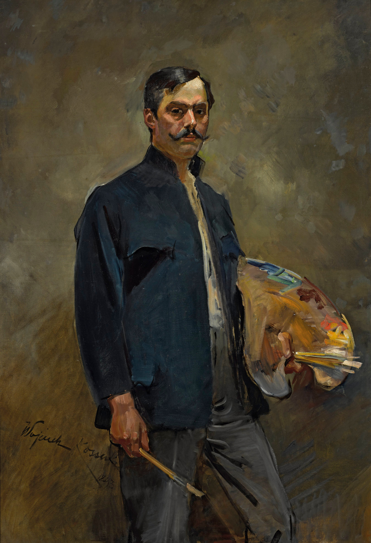 """Wojciech Kossak (1856 - 1942) """"Portret własny z paletą"""", 1893 rok, źródło: Muzeum Narodowe w Warszawie"""