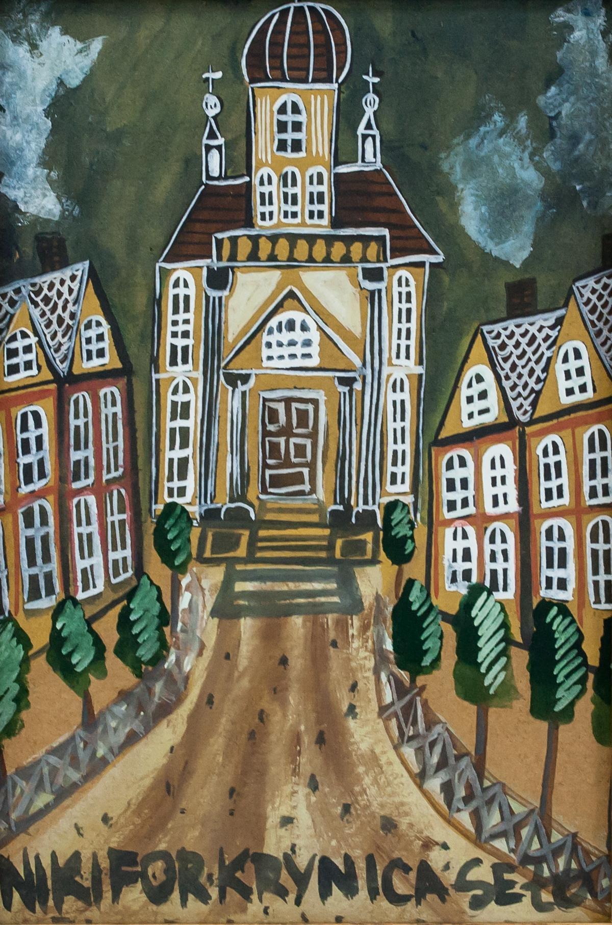 """Nikifor (1895-1968) """"Miasteczko"""", źródło: 888 Auction"""