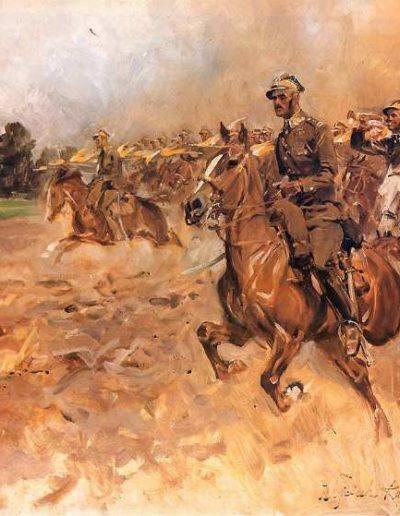 """Wojciech Kossak (1856-1942) """"Szarża pułku ułanów"""", źródło: Muzeum Wojska Polskiego w Warszawie"""