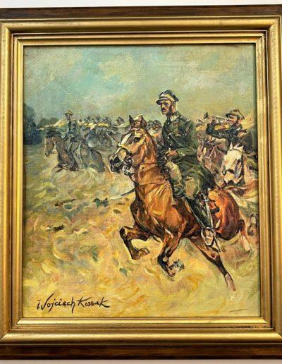 """Wojciech Kossak (1856-1942) """"Szarża pułku ułanów"""", źródło: Black River Auction"""