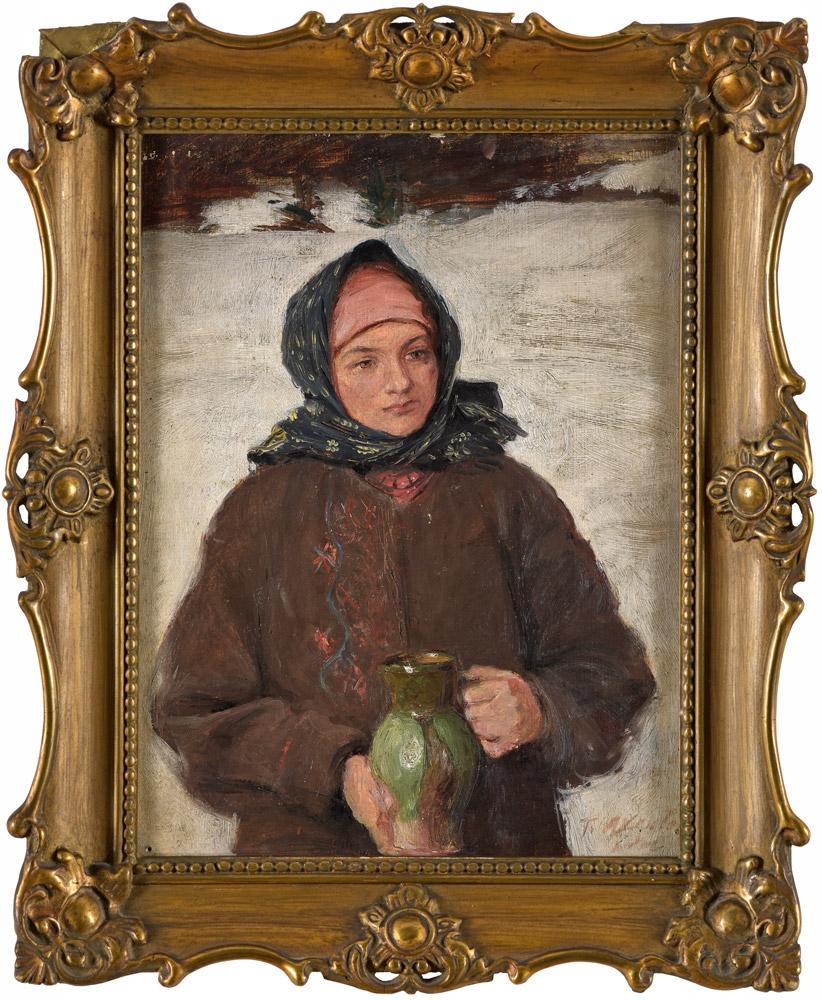 """Teodor Axentowicz (1859-1938) """"Dziewczyna z dzbanem"""", źródło: Düsseldorfer Auktionshaus"""
