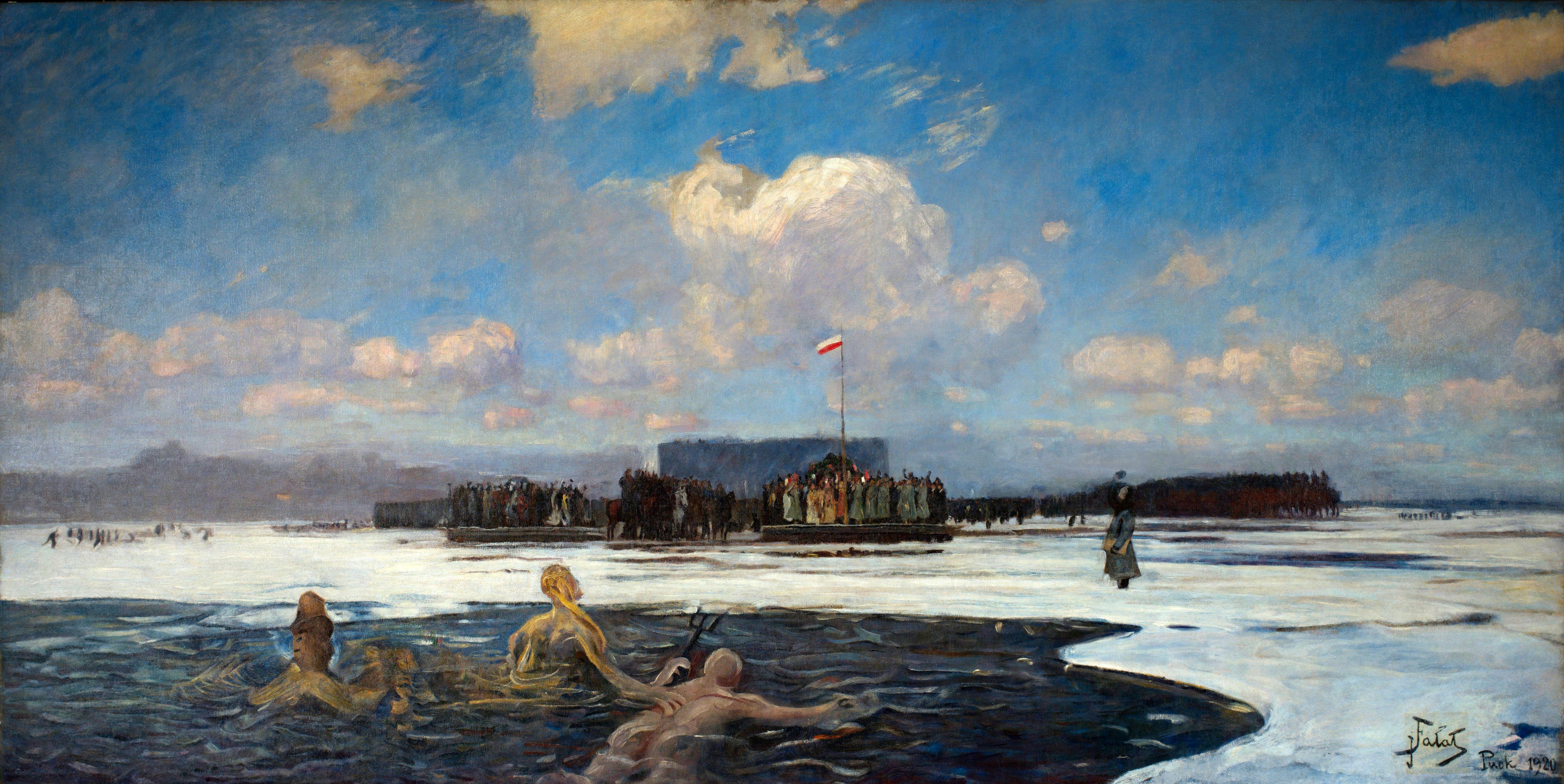 """Julian Fałat (1853-1929) """"Zaślubiny Polski z morzem"""", 1920 rok, źródło: Narodowe Muzeum Morskie w Gdańsku"""
