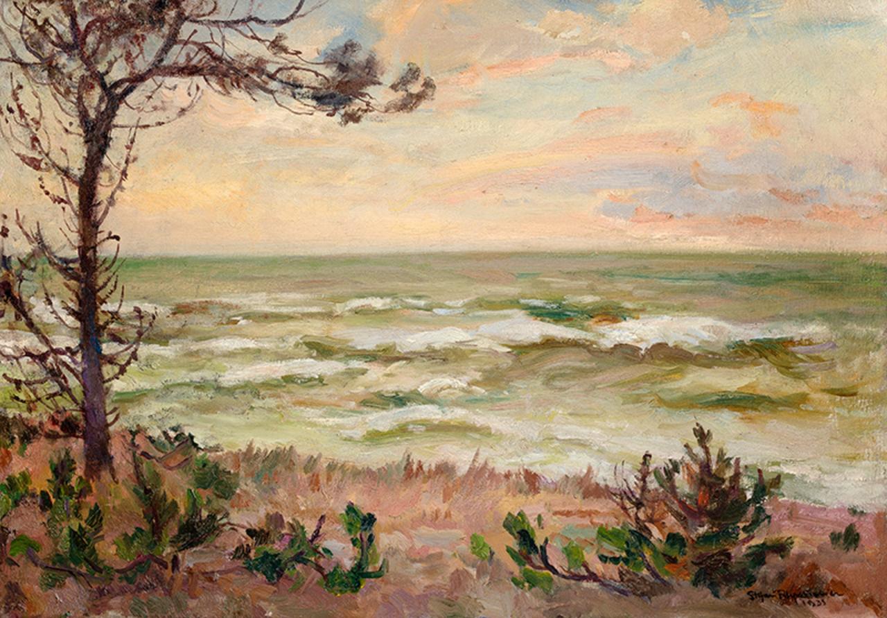 """Stefan Filipkiewicz (1879-1944) """"Plaża w Jastrzębiej Górze"""", 1935 rok, źródło: Sopocki Dom Aukcyjny"""