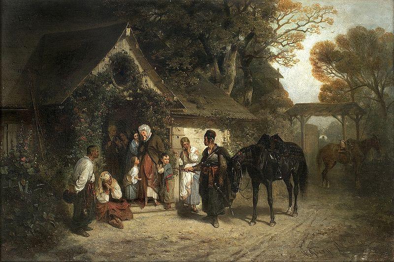 """Maksymilian Gierymski (1846-1874) """"Powrót bez pana"""", 1868 rok, źródło: Agra-Art"""