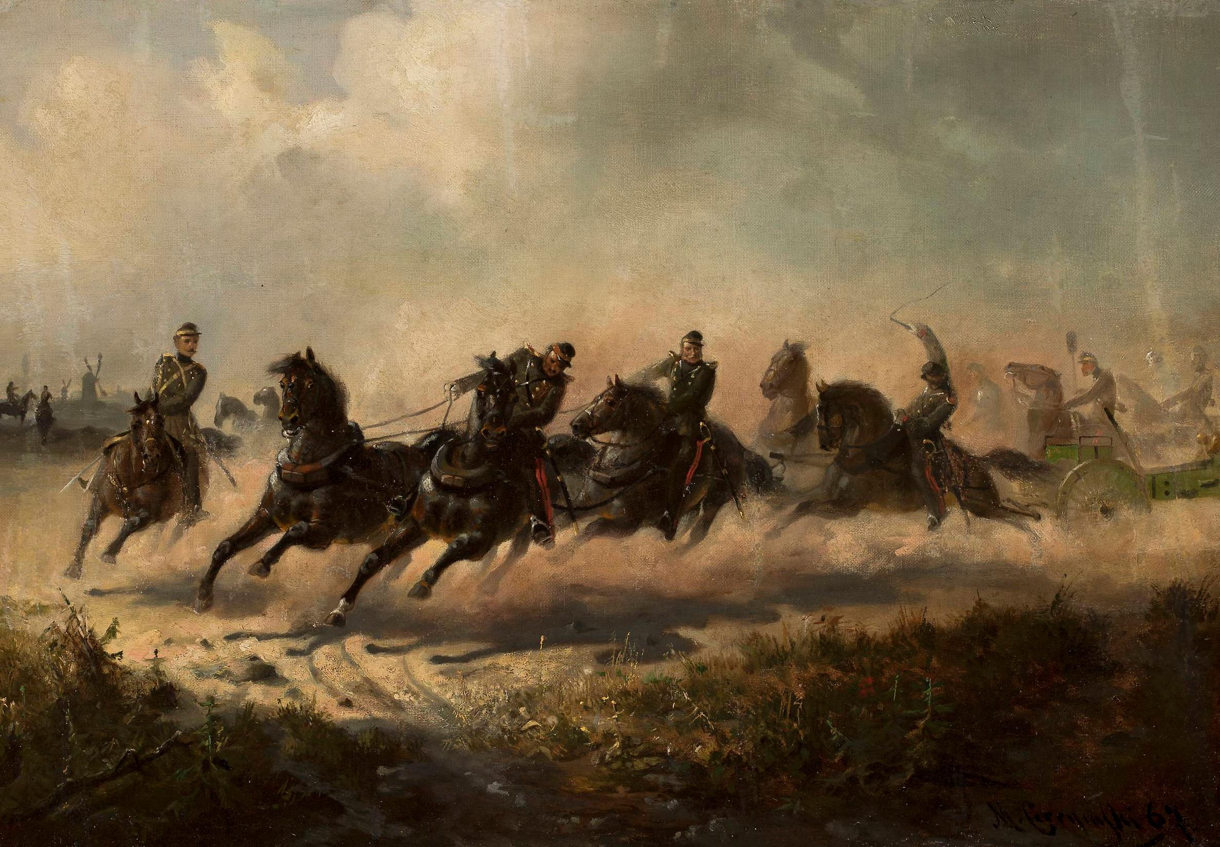 """Maksymilian Gierymski (1846-1874) """"Szarża artylerii rosyjskiej"""", 1866-1867, źródło: Muzeum Narodowe w Warszawie"""