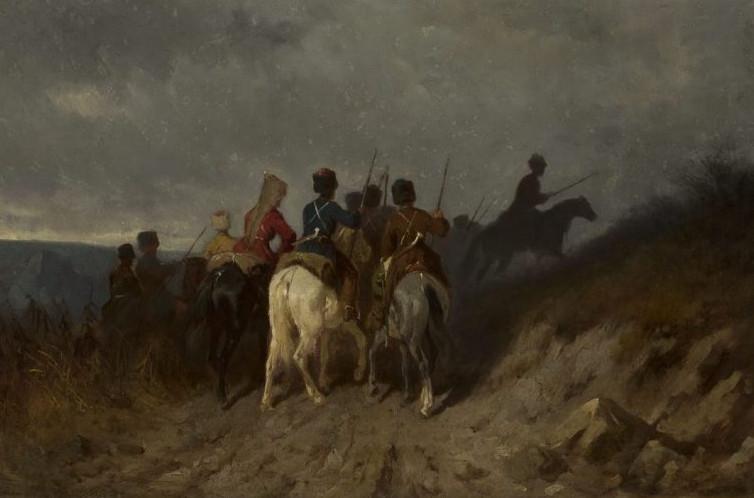 """Maksymilian Gierymski (1846-1874) """"Zwiady kozaków kubańskich """", lata 1868-1869, źródło: Muzeum Narodowe w Warszawie"""