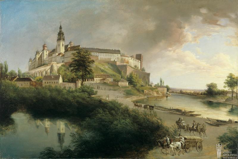 """Jan Nepomucen Głowacki (1802-1847) """"Widok Wawelu od północnego zachodu"""", 1847 rok (?), źródło: Państwowe Zbiory Sztuki na Wawelu"""