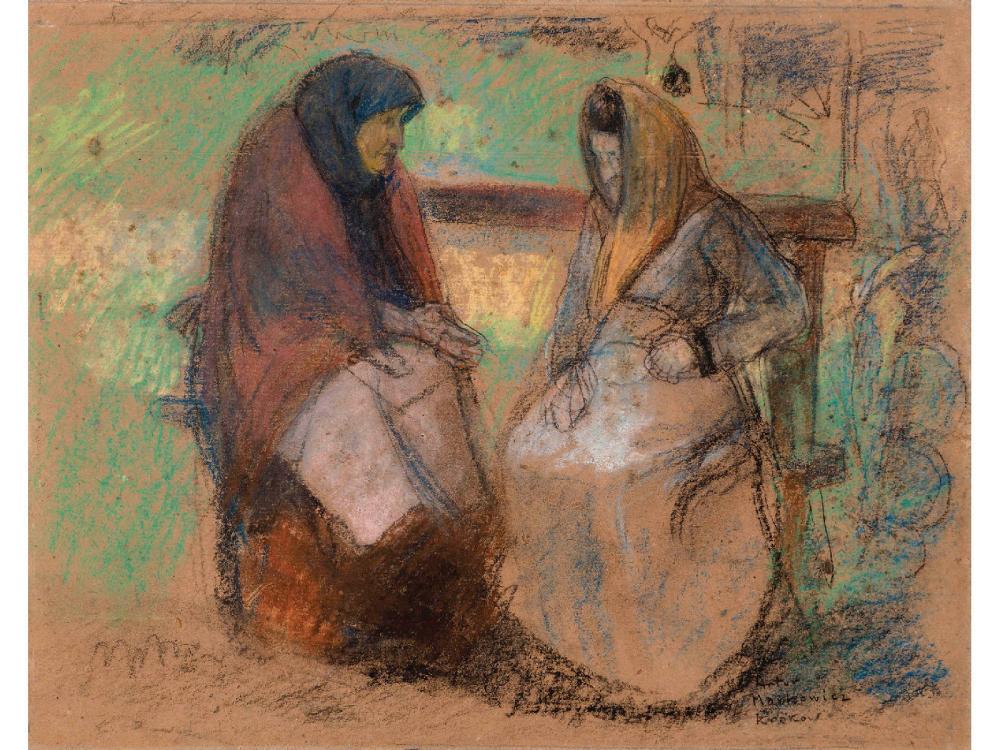 """Artur Markowicz (1872-1934) """"Rozmowa"""", źródło: Kedem Auction House"""