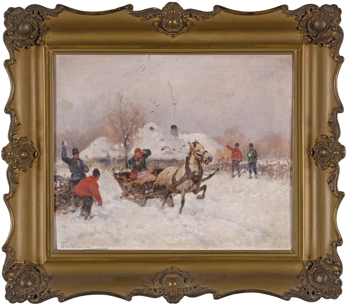 """Adam Setkowicz (1876-1945) """"Bitwa na śnieżki"""", źródło: Düsseldorfer Auktionshaus"""