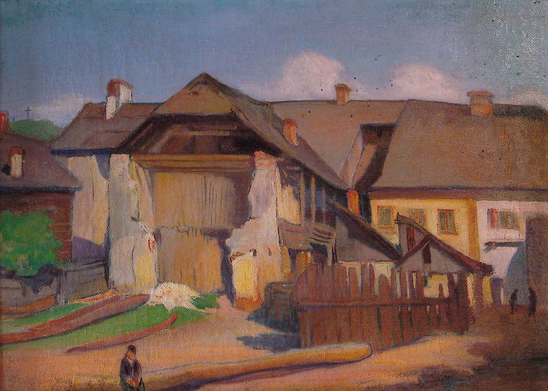 """Władysław Ślewiński (1854 - 1918) """"Fragment muru z chłopcem"""", 1909 rok, źródło: Muzeum Narodowe w Warszawie"""
