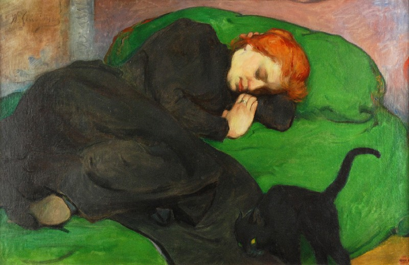 """Władysław Ślewiński (1854 - 1918) """"Śpiąca kobieta z kotem"""", 1896 rok, źródło: Rempex"""