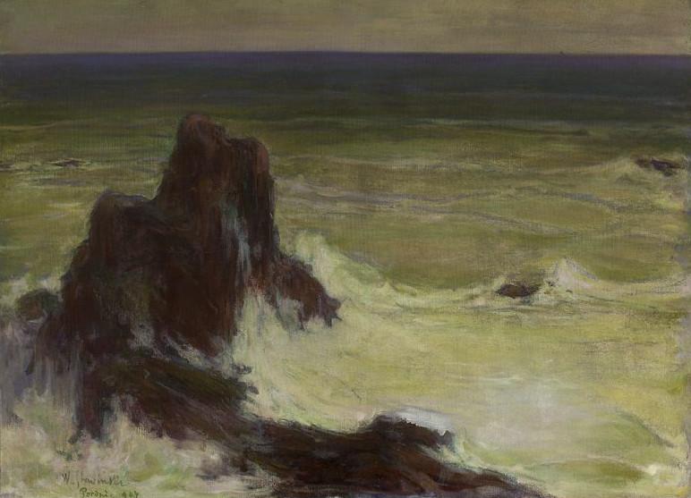 """Władysław Ślewiński (1854 - 1918) """"Morze z samotną skałą"""", 1907 rok, źródło: Muzeum Narodowe w Warszawie"""