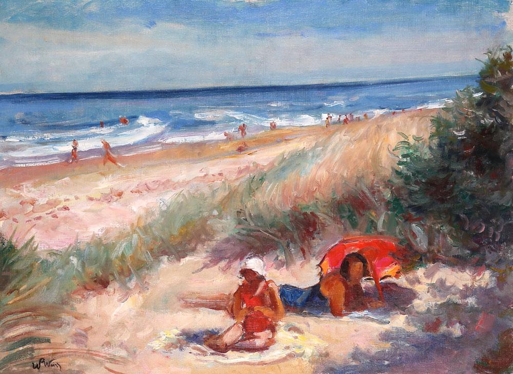 """Wojciech Weiss (1875-1950) """"Na plaży"""", źródło: Salon Dzieł Sztuki Connaisseur"""