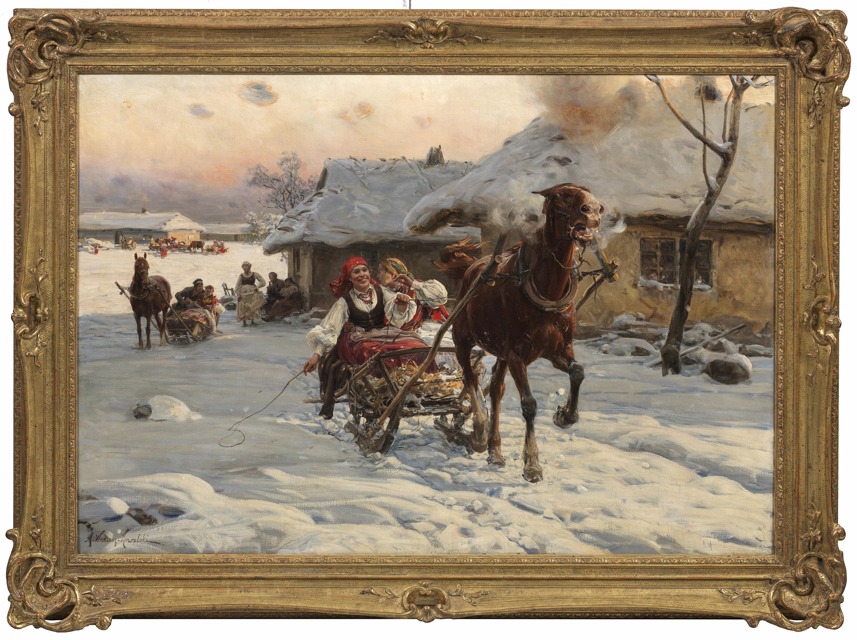 """Alfred Wierusz Kowalski (1849-1915) """"Wesoła sanna"""", źródło: Schloss Ahlden"""