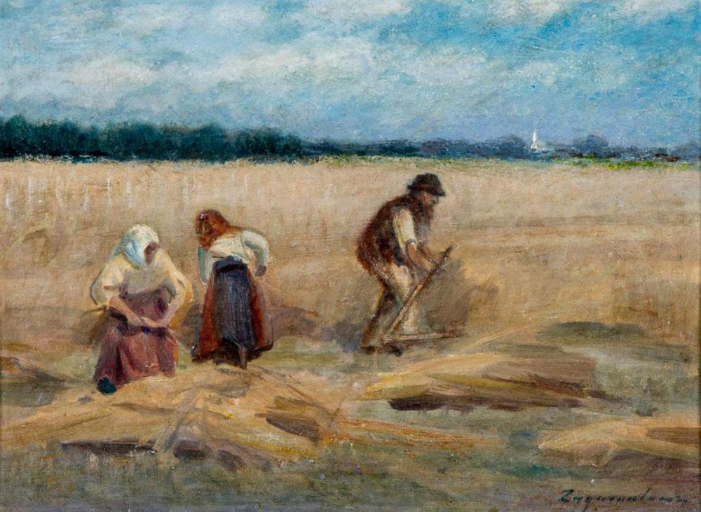 """Ignacy Zygmuntowicz (1875-1947) """"Sianokosy"""", źródło: Gray's Auctioneers"""