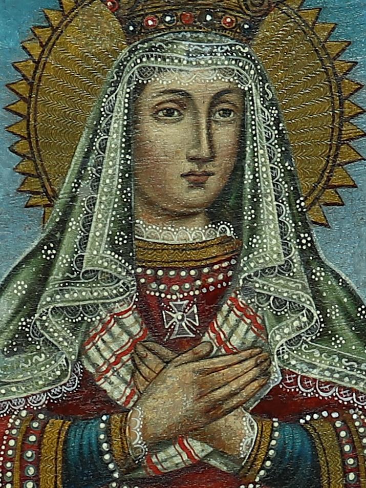 """Michał Stankiewicz (XIX w.) """"Matka Boża Saletyńska"""", fragment z portretem Matki Bożej, źródło: archiwum autora"""