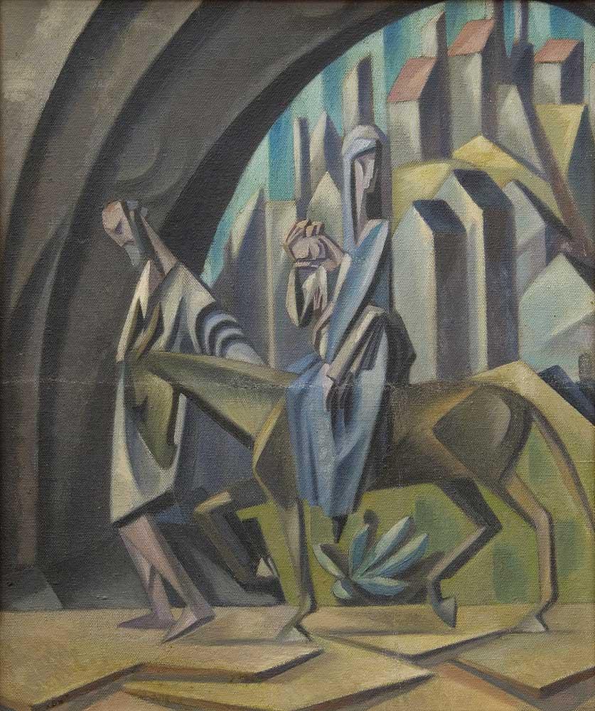 """""""Ucieczka do Egiptu"""" czy """"Mnich"""" to jedne z ciekawszych prac Pronaszki, źródło: Muzeum Sztuki w Łodzi"""