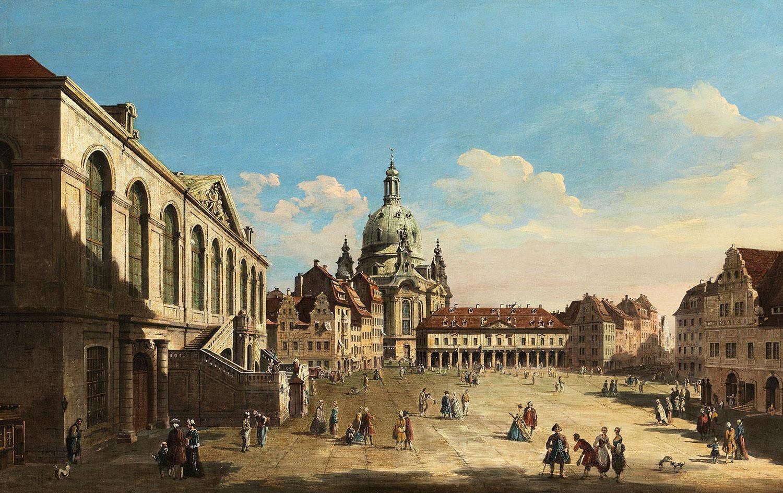 """Bernardo Bellotto, zwany Canaletto (1721-1780)  """"Drezno - widok na Neumarkt i Kościół Marii Panny"""", źródło: Hampel, Monachium"""