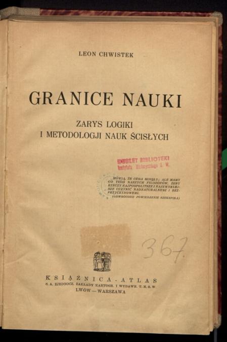"""""""Granice nauki"""", pierwsze wydanie, źródło: polona.pl"""