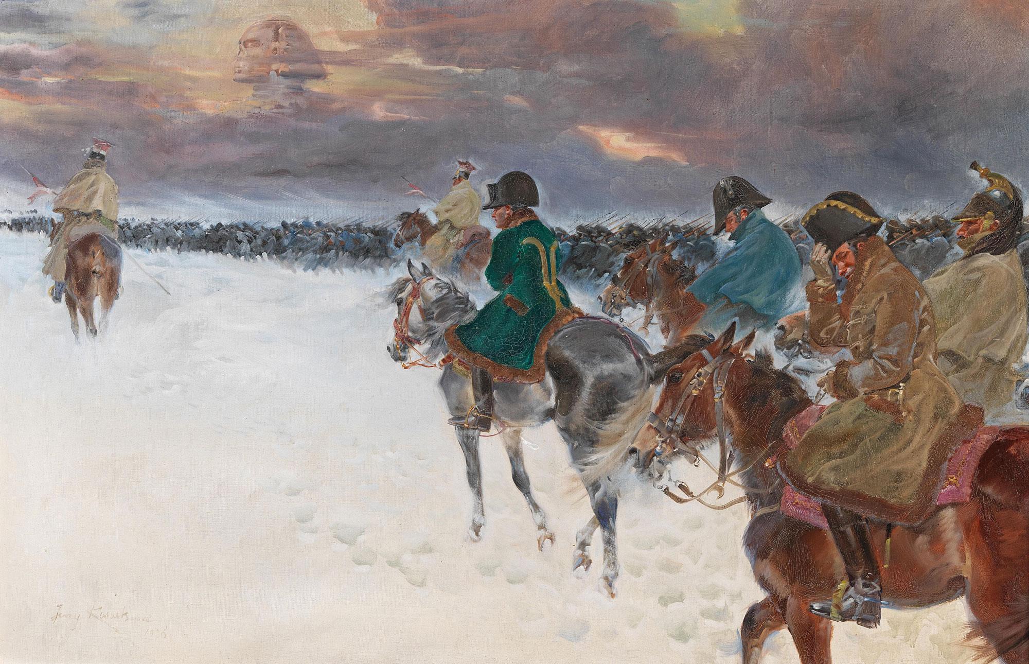 """Jerzy Kossak (1886-1955) """"Wizja Napoleona w trakcie odwrotu spod Moskwy"""", źródło: Dorotheum"""