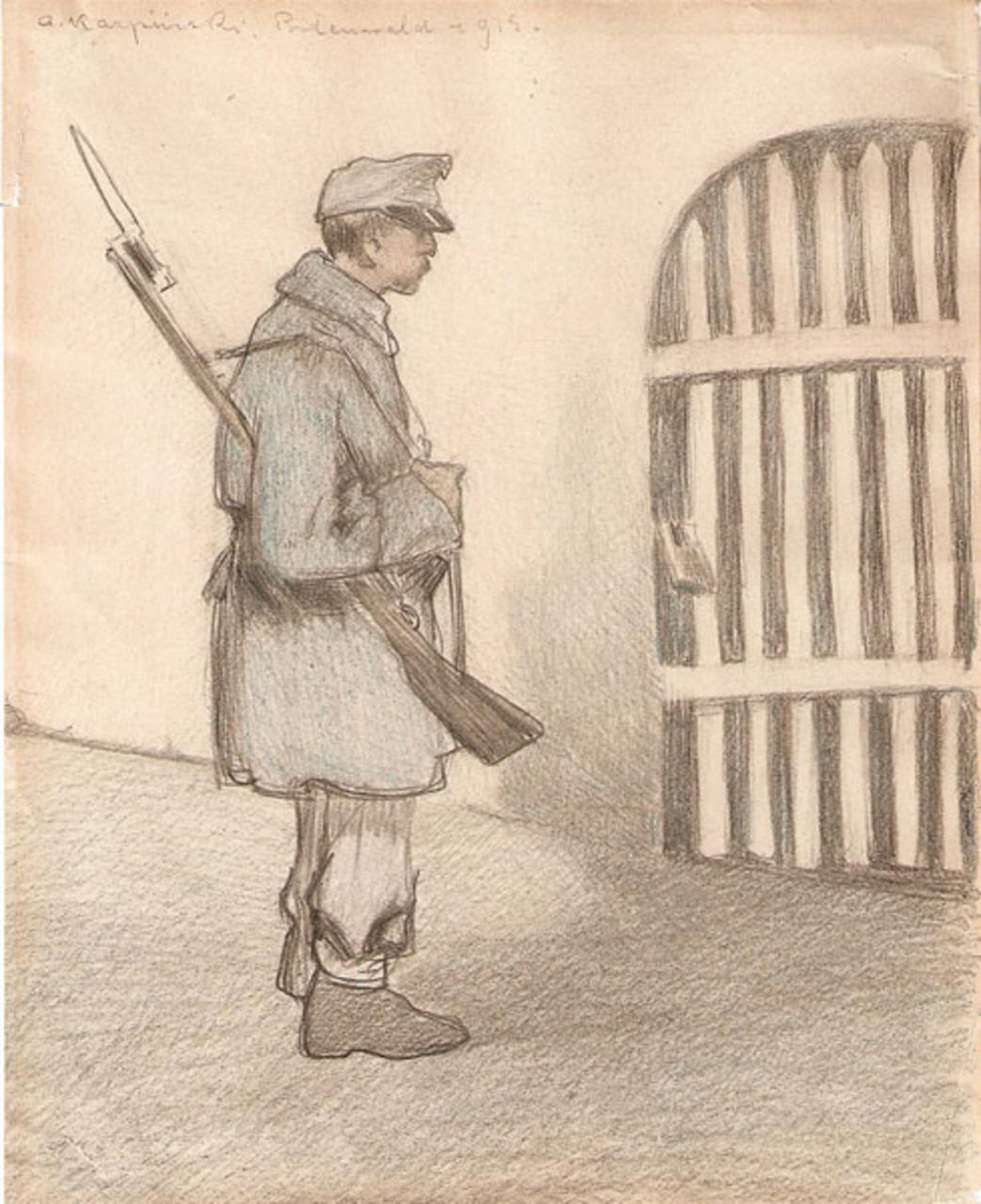 """Alfons Karpiński (1875 - 1961) """"Żołnierz austriacki"""", 1915 rok, źródło: Desa Katowice"""