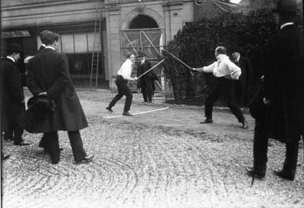 Pojedynek Chwistka (z lewej) i Borkowskiego, 1914 rok, źródło: culture.pl