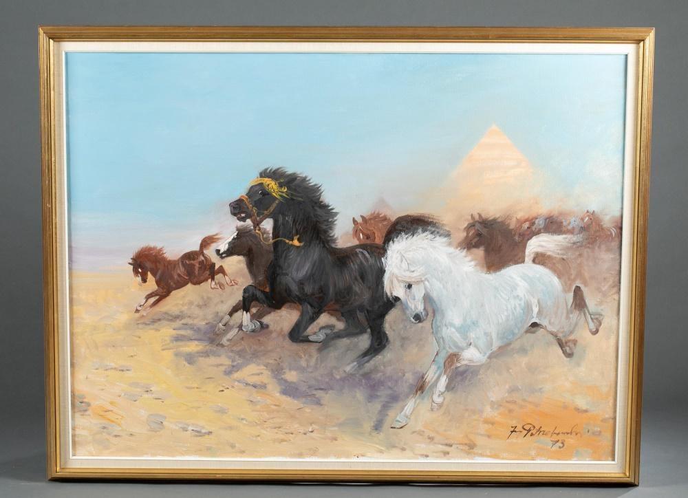 """Jerzy Potrzebowski (1921-1974) """"Spłoszone konie"""", źródło: Quinn's Auction Galleries"""