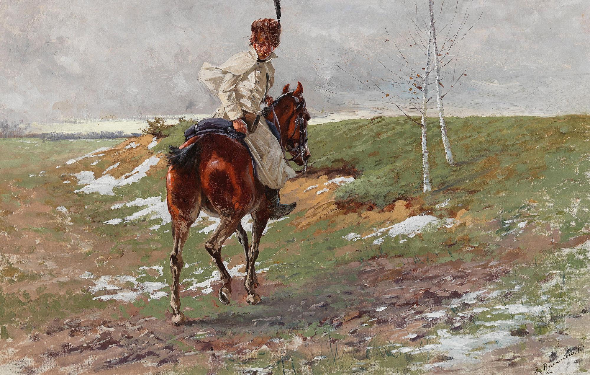 """Zygmunt Rozwadowski (1870-1950) """"Polski jeździec"""", źródło: Dorotheum"""