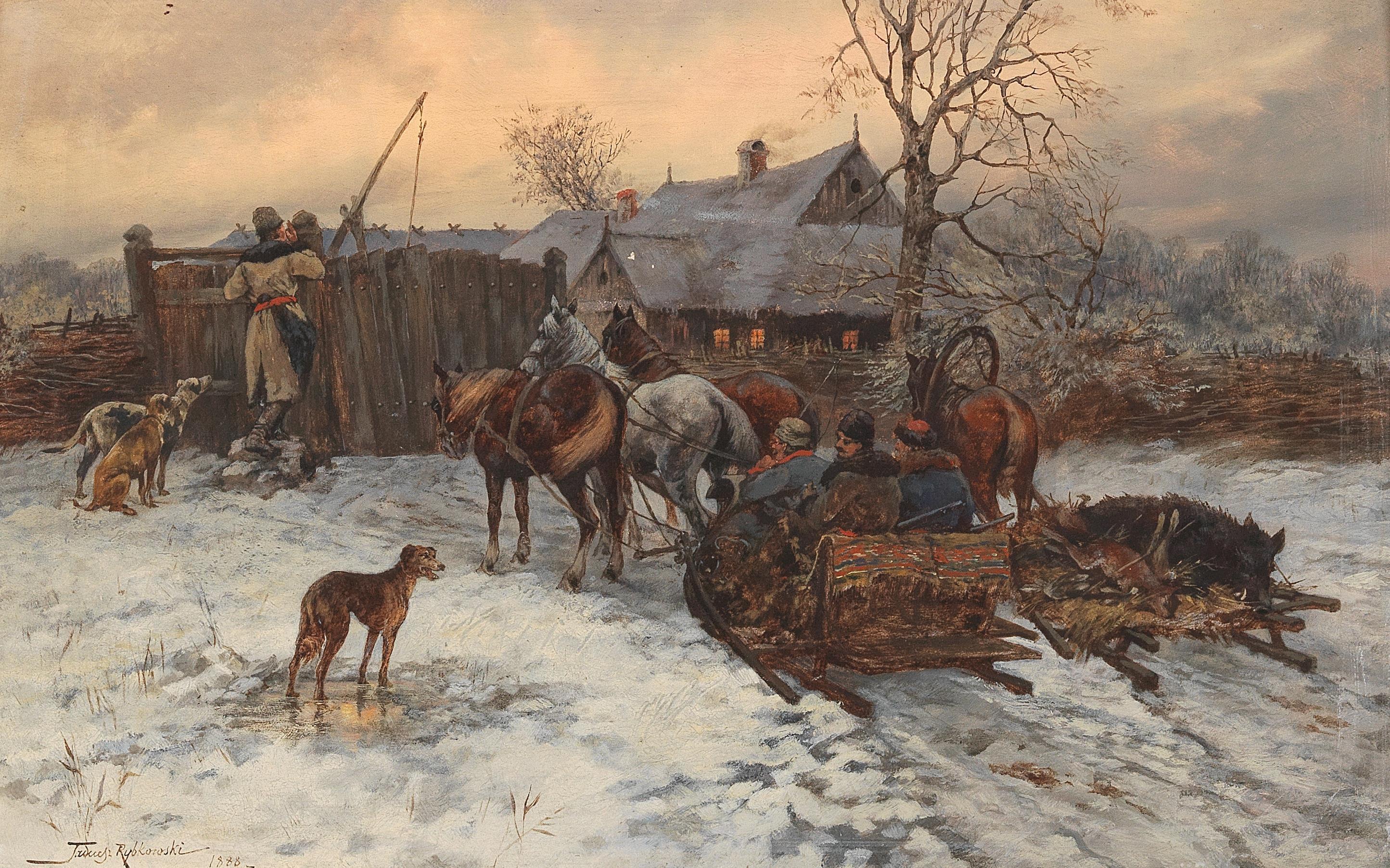 """Tadeusz Rybkowski (1848-1926) """"Powrót z polowania"""", źródło: Dorotheum"""