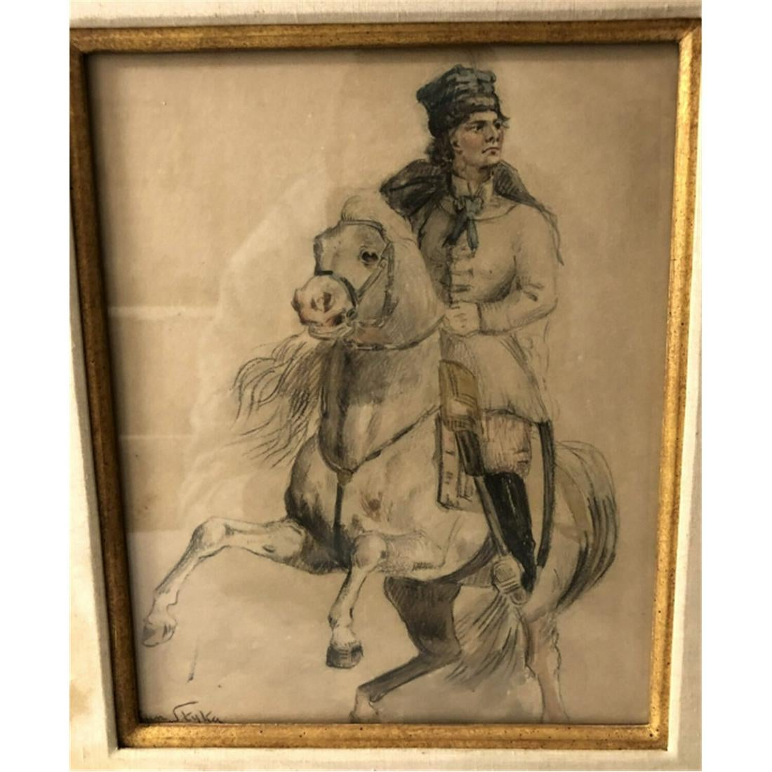 """Jan Styka (1858-1925) """"Jeździec na koniu"""", źródło: World Auction Gallery LLC"""