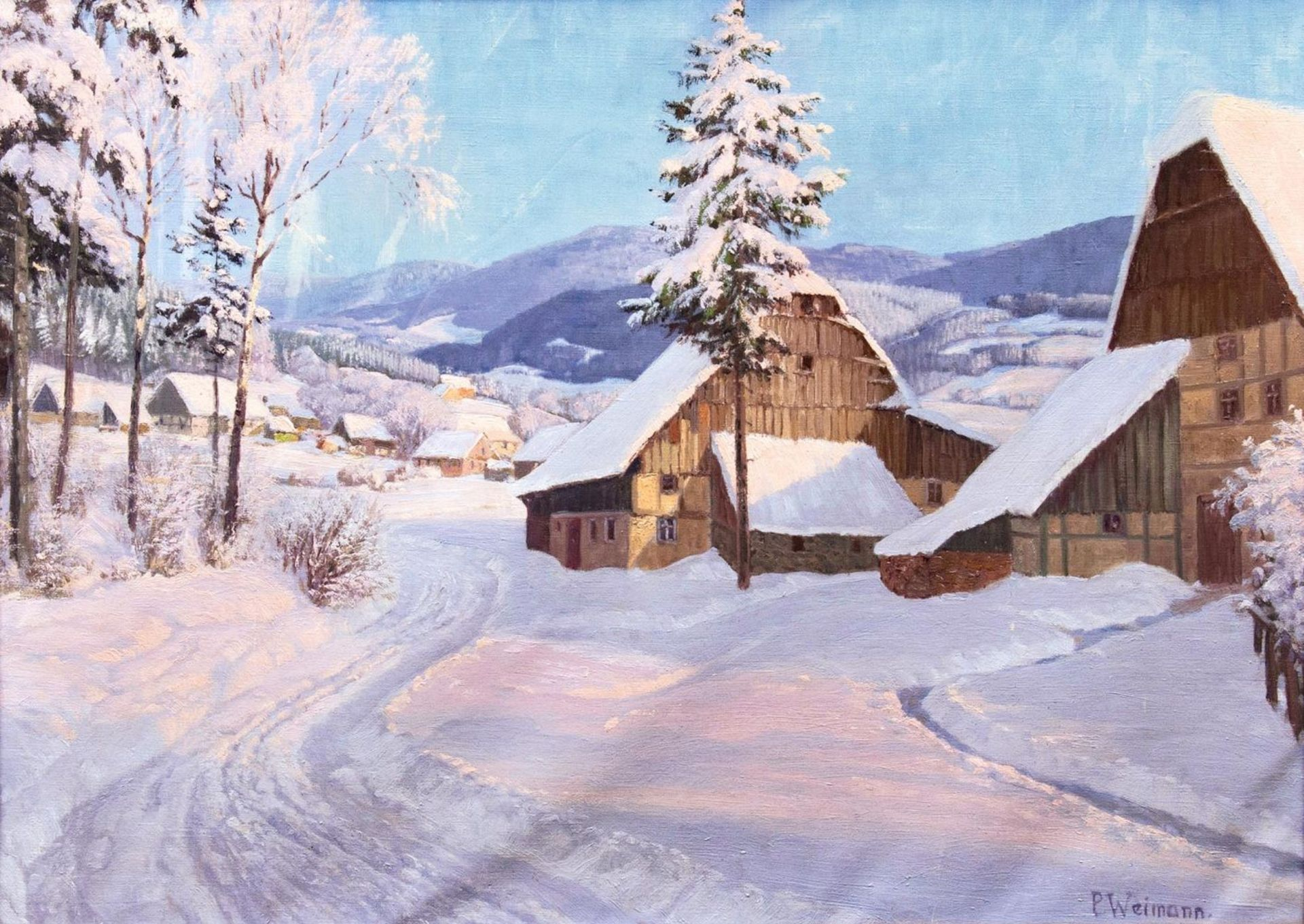 "Paul Weimann (1867-1945) ""Zima w Karkonoszach"", źródło: Auktionshaus Stahl"