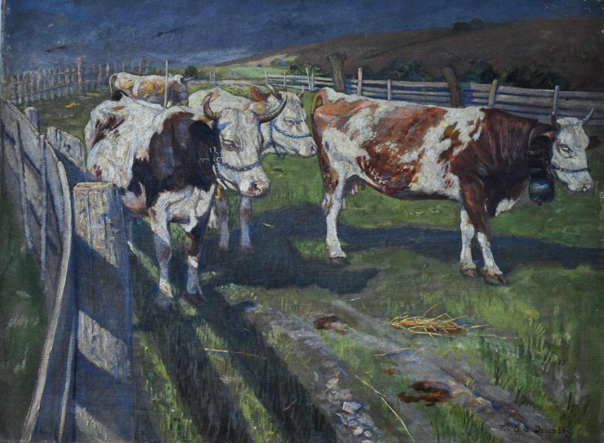 """Zygmunt Sixtus Dzbański (1874-1942) """"Krowy"""", źródło: Auktionshaus Weiner"""