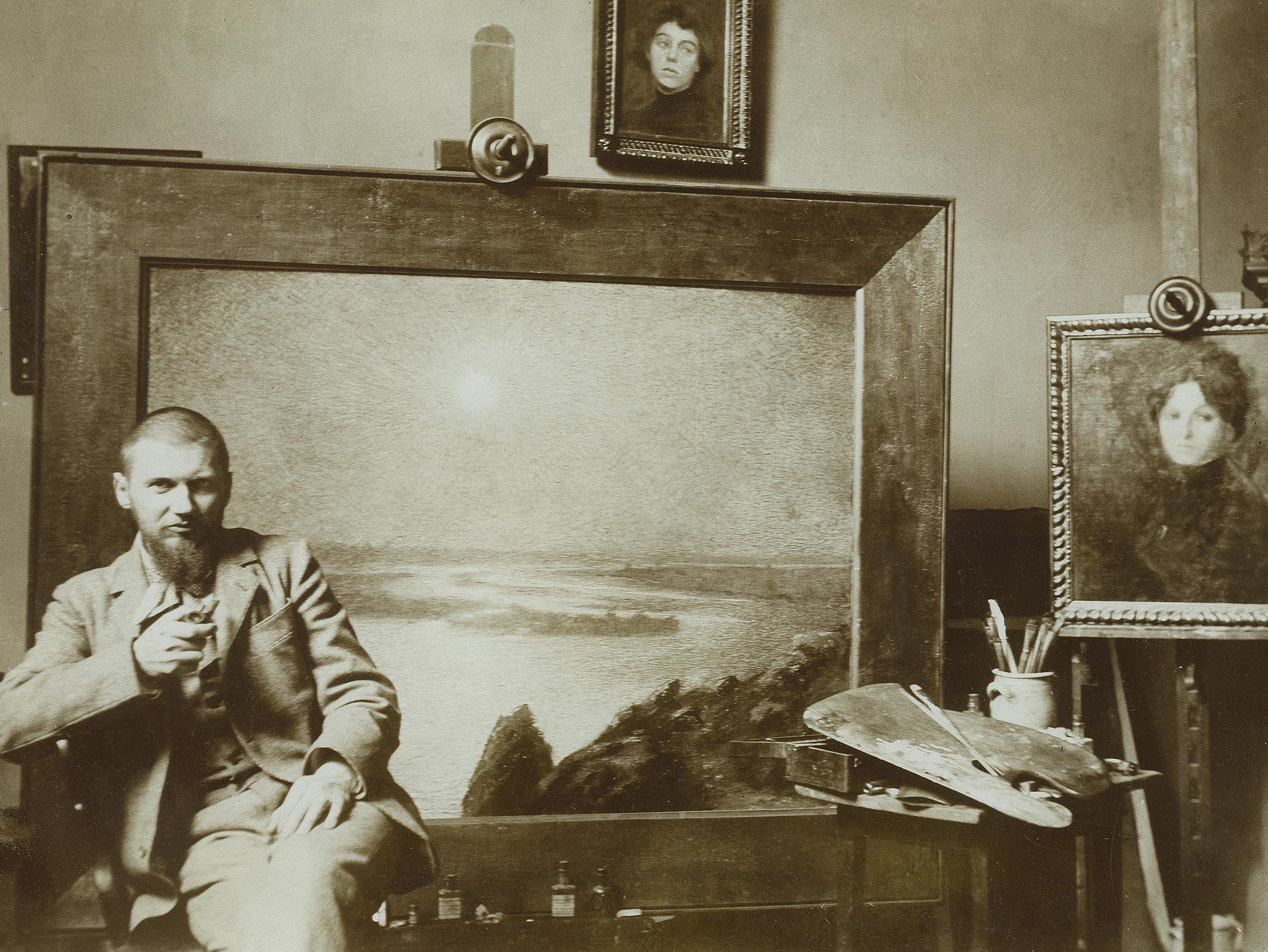 Soter Jaxa-Małachowski w pracowni, ok. 1894-1900 roku, wł. kolekcja prywatna