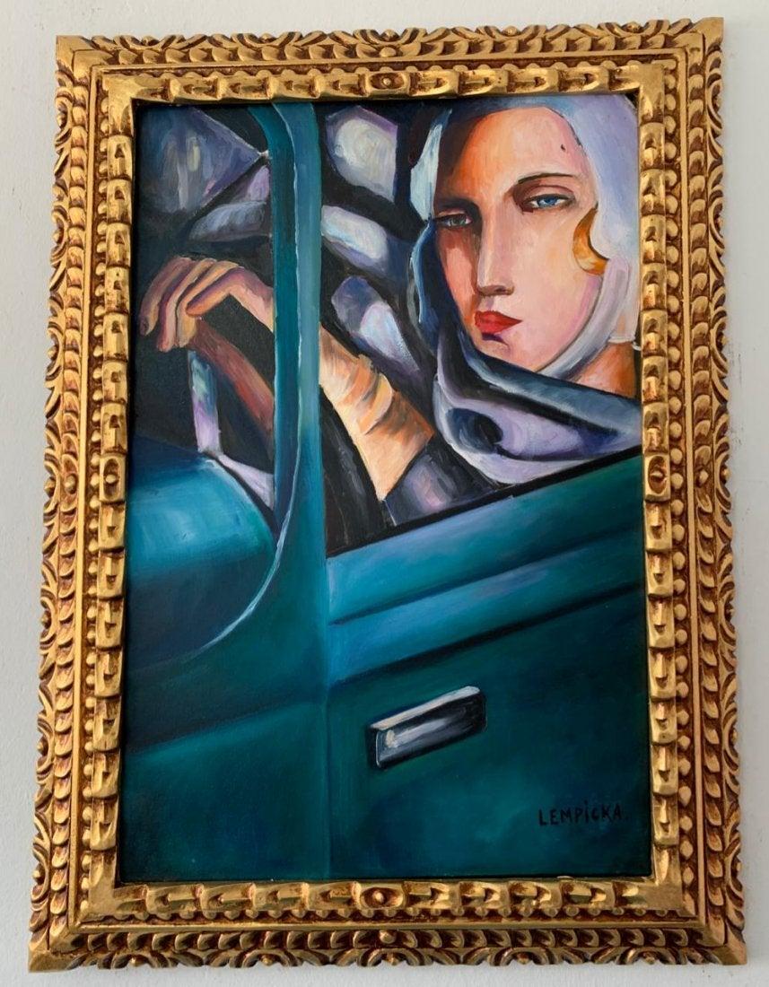 """Tamara Łempicka (1898-1980) """"Autoportret w zielonym Bugatti"""", źródło: Hrellis Auction Gallery"""