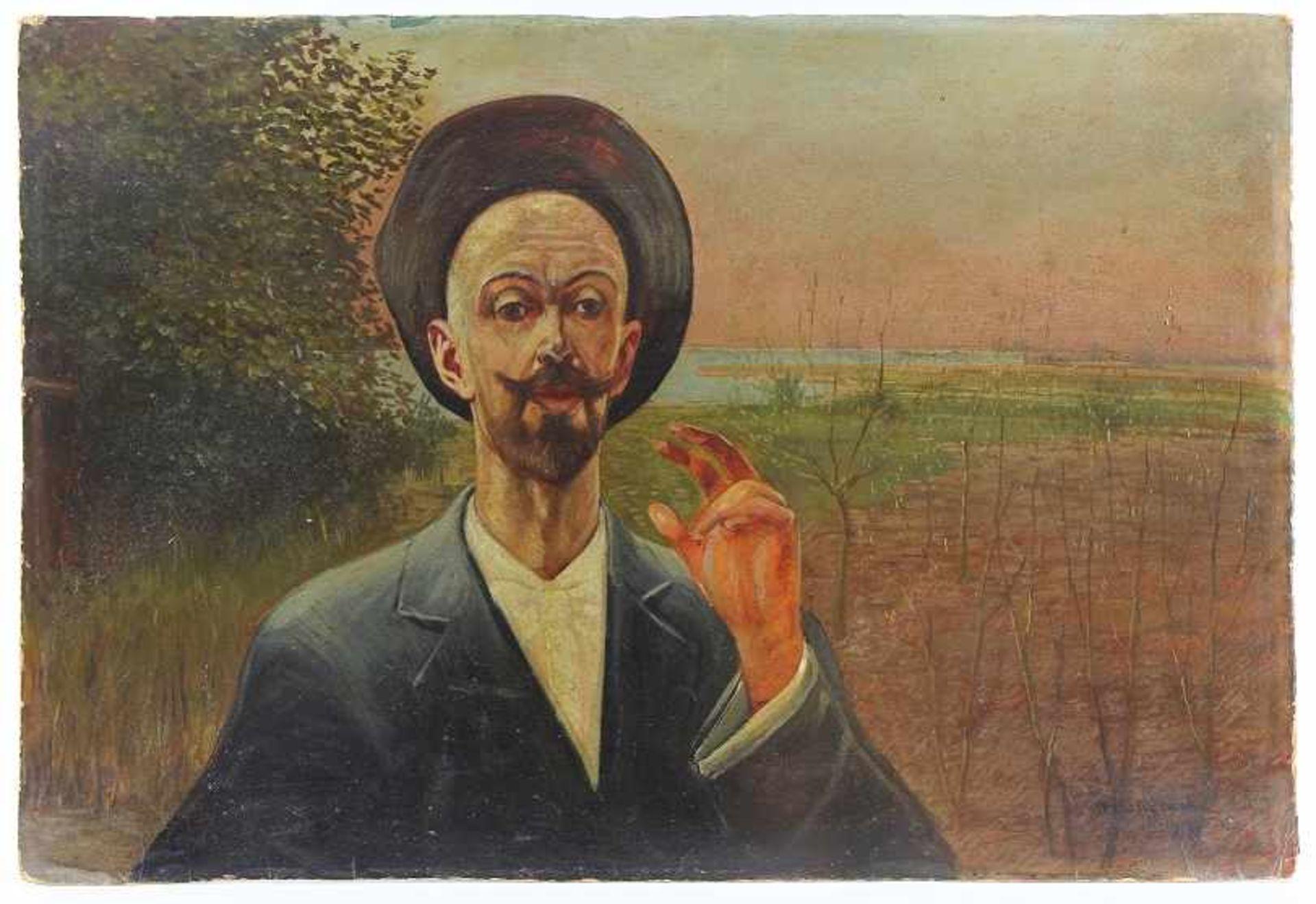 """Jacek Malczewski (1854-1929) """"Autoportret"""", źródło: Auktionshaus Owl"""