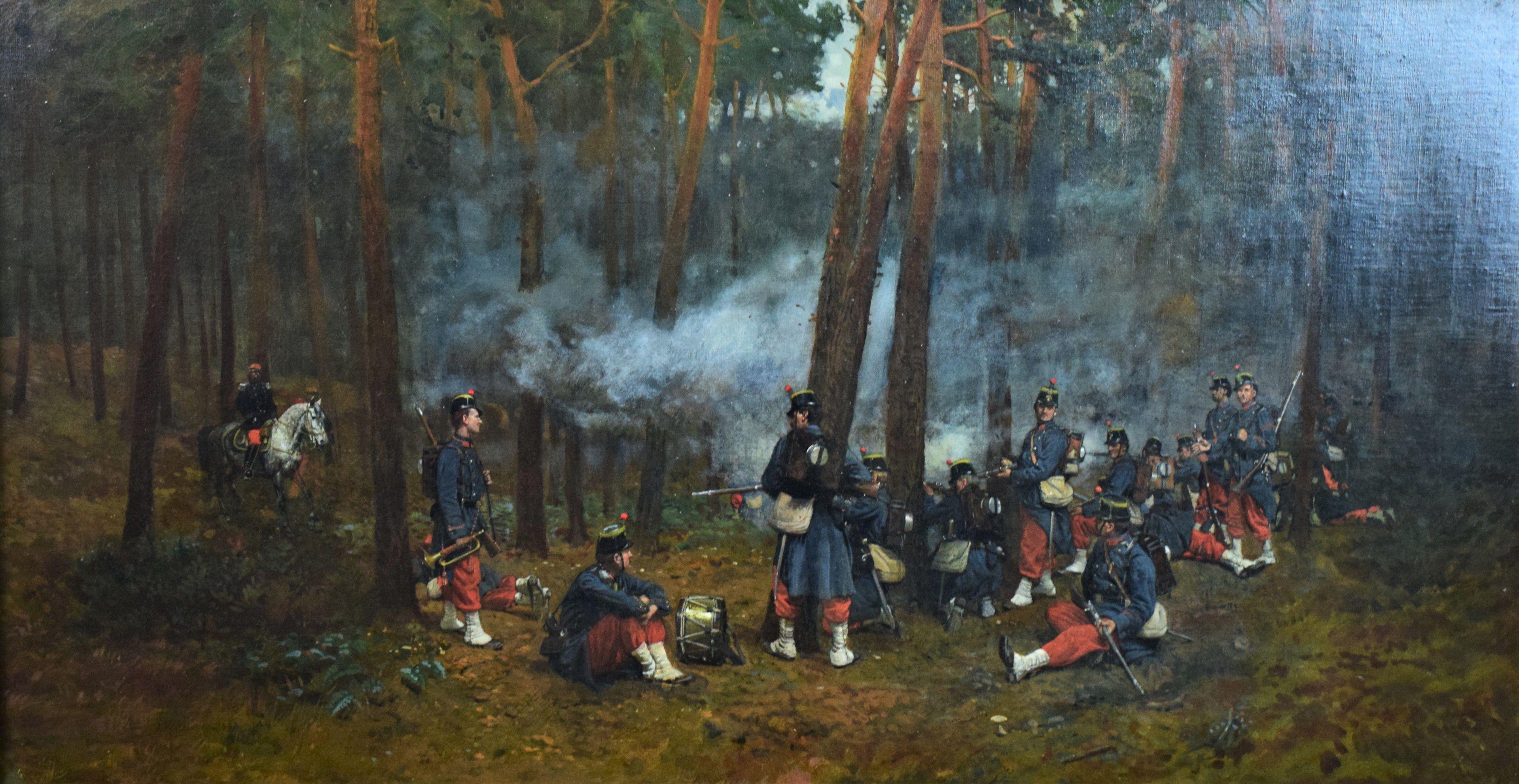 """Antoni Piotrowski (1853-1923) """"Manewry w lesie Fontainebleau"""", źródło: Guery Encheres"""