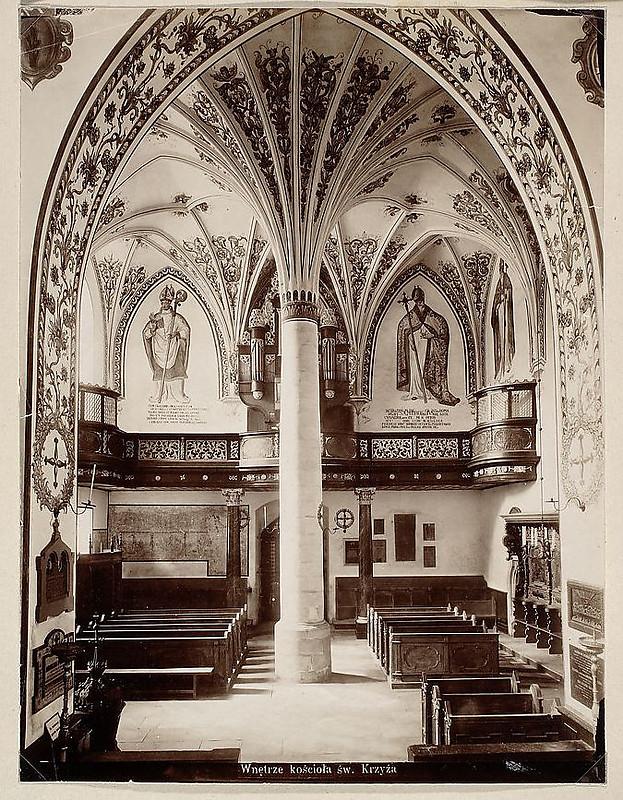 Wnętrze kościoła Św. Krzyża po renowacji, 1898 rok, źródło: Muzeum Narodowe w Warszawie