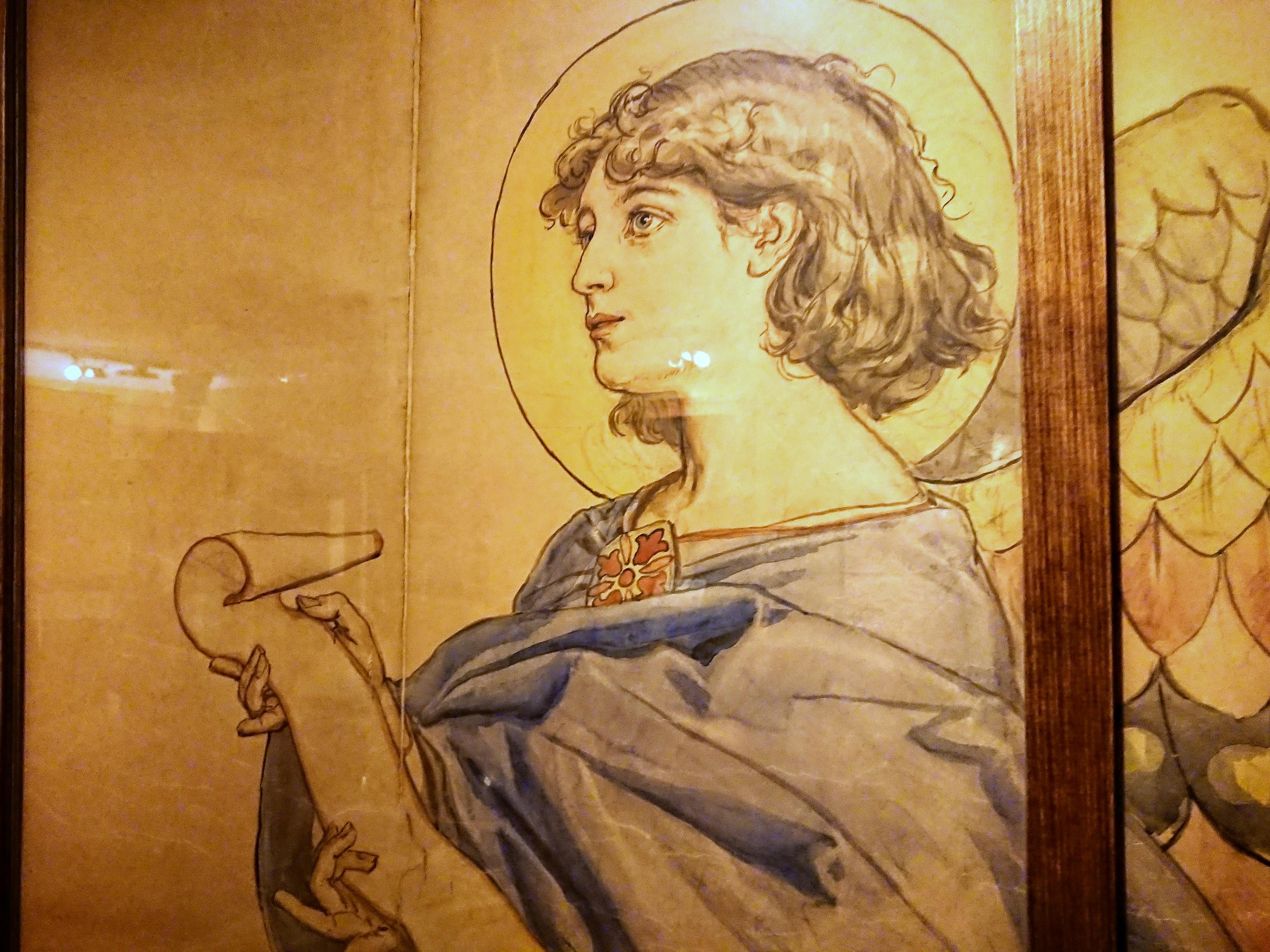 Anioł z kartonu projektowego do polichromii w kościele Mariackim, źródło: archiwum autorki (Dom Jana Matejki)