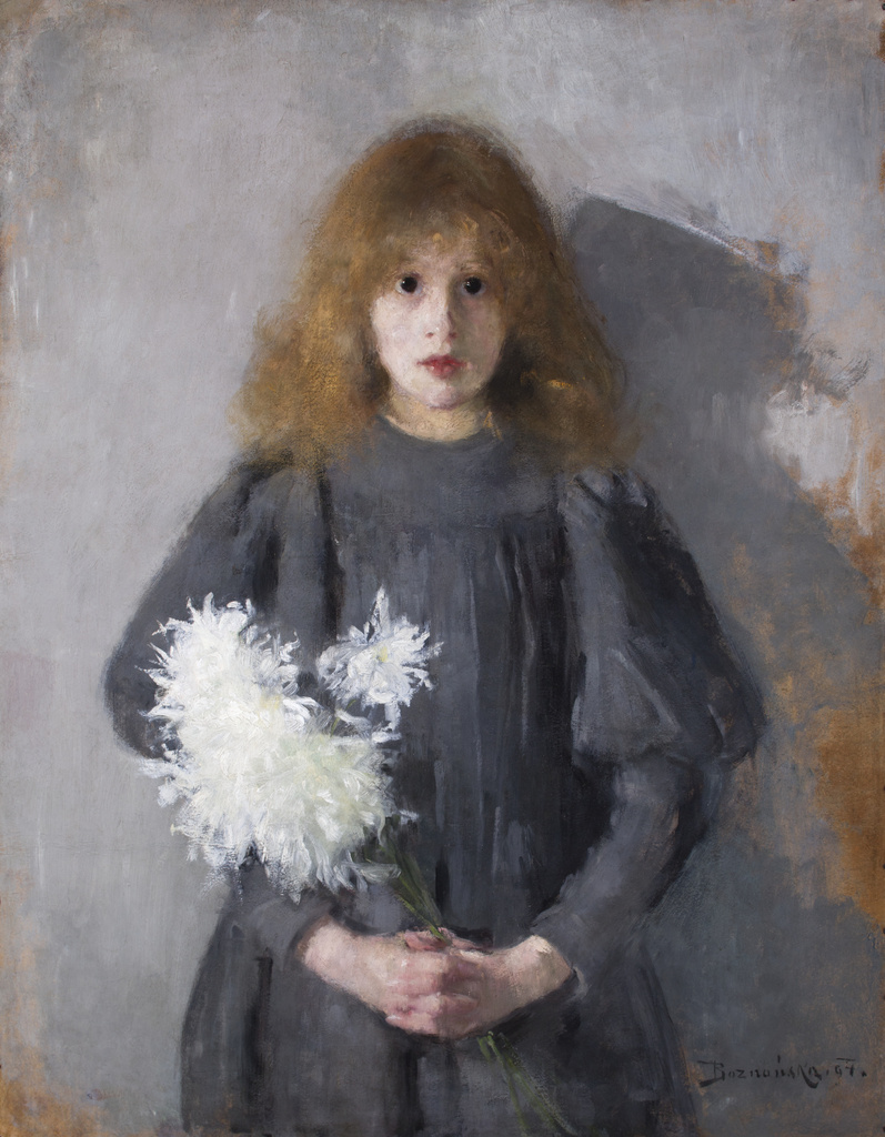 """Olga Boznańska (1865 - 1940) """"Dziewczynka z chryzantemami"""", 1894 rok, źródło: Muzeum Narodowe w Krakowie"""